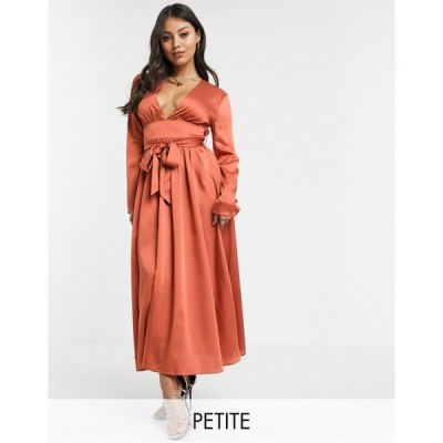 グラマラス ミディドレス レディース Glamorous Petite plunge front midi tea dress in satin エイソス ASOS