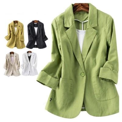 綿麻 リネンジャケット テーラードジャケット 七分袖 ショートジャケット 通勤 大人 女性 サマージャケット 送料無料