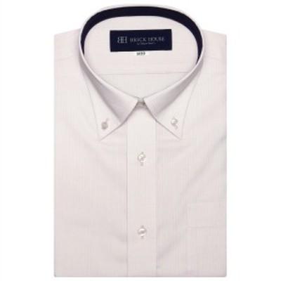 ブリックハウス(BRICKHOUSE)/形態安定 ノーアイロン 半袖ワイシャツ ボタンダウン ピンク×ストライプ織柄