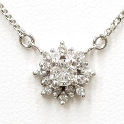 PT850 プラチナ ネックレス ダイヤ 0.16 0.13 総重量約3.5g 中古ジュエリー