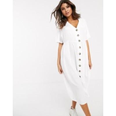 エイソス レディース ワンピース トップス ASOS DESIGN v neck button through midi smock dress White