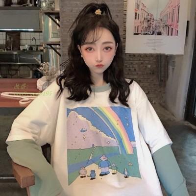 韓国 スタイル ファッション ブランド 春秋 女性 衣服 カジュアル 偽二枚はパッチワーク 長袖 プルオーバー スウェット グループ上 レディース 衣服 から パ