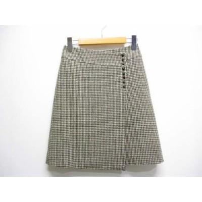 【中古】エフデ ef-de ウール100% 台形 ラップ 巻き スカート 7 茶xベージュ 千鳥格子 裏地付き 日本製 レディース