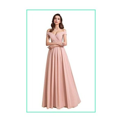Clothfun Womens Off Shoulder Blush Pink Bridesmaid Dresses Long A-Line Evening Formal Dresses with Pockets 16並行輸入品