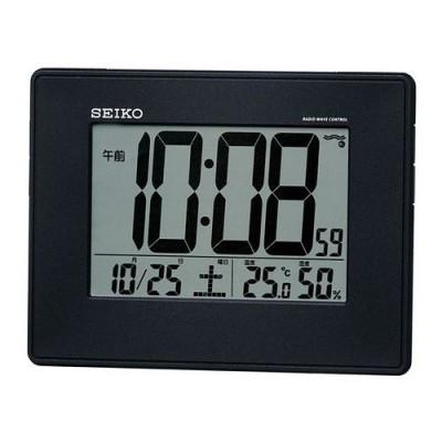 【送料無料】SEIKO CLOCK (セイコークロック) 目覚まし時計 電波 デジタル 掛置兼用 カレンダー・温度・湿度表示 大型画面 黒メタリック SQ770K ■送料無料※北海道・九州・沖縄・離島