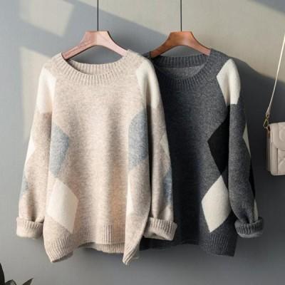 ゆるカジ☆上品ダイヤ柄 羊毛100% ざっくりニット ルーズフィットセーター 肩落ち袖 ソフト ニット 暖か トラディショナル