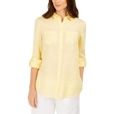 チャータークラブ Charter Club レディース ブラウス・シャツ トップス Linen Shirt Citron Aura