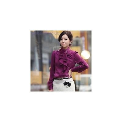 ブラウス スタンドネック 長袖 フリル ハイネック シンプル 上品 綺麗 大人 シャツ 大きいサイズ レディース 女性 アーモンド 白 パープル
