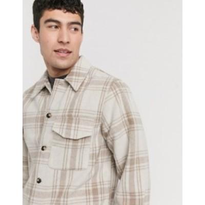 ニュールック メンズ シャツ トップス New Look heritage check overshirt in ecru Stone