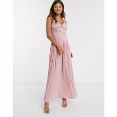 エイソス ASOS DESIGN レディース ワンピース キャミワンピ premium pleat cup detail lace insert cami maxi dress in soft pink ソフト