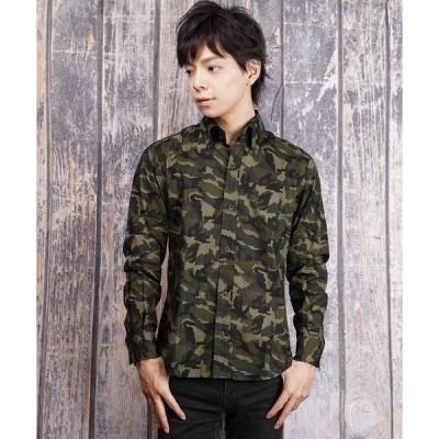 シャツ ブラウス 日本製カモフラージュパターンデュエボタンダウンシャツ(GW)