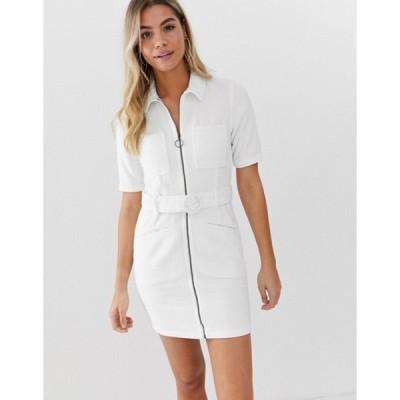 エイソス レディース ワンピース トップス ASOS DESIGN cord mini dress with belt in white