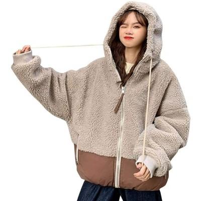 ボア ジャケット コート ブルゾン レディース ゆったり 冬服 BF風 アウター フード付き ポケット付き もこもこ ふわふわ トップス 防寒 カジュ