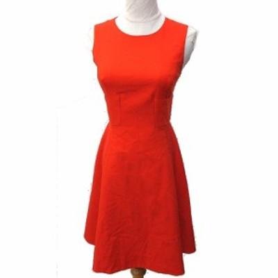 【中古】ケイトスペード KATE SPADE ワンピース ひざ丈 ドレス ノースリーブ Aライン フレア リボン 0-A XS 赤 IBS91