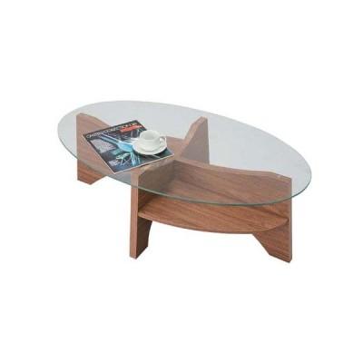 LE-454 WAL NA ROOM ウォールナット ナチュラル 楕円型 たまご型 円形 オーバル センターテーブル リビング ローテーブル ソファーテーブル ガラステーブル