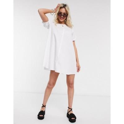 エイソス ミニドレス レディース ASOS DESIGN cotton trapeze mini smock dress with ruched sleeves in white エイソス ASOS ホワイト 白