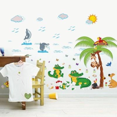 2枚セット ウォールステッカー 壁紙 シール 貼ってはがせる 壁装飾 おしゃれ 防水 クリエイティブ装飾 リビングルーム ホーム 寝室 動物