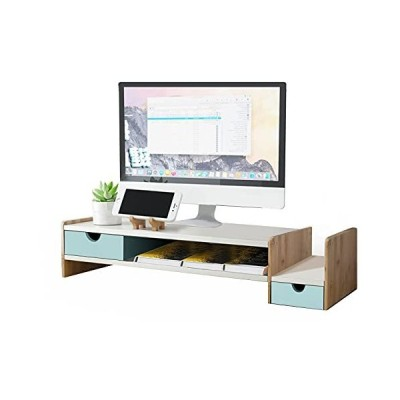 AOHART モニター台 机上台 木製 プリンタ台 パソコンスタンド コンパクト 引き出し 収納付き 家庭用 オフィス 69?