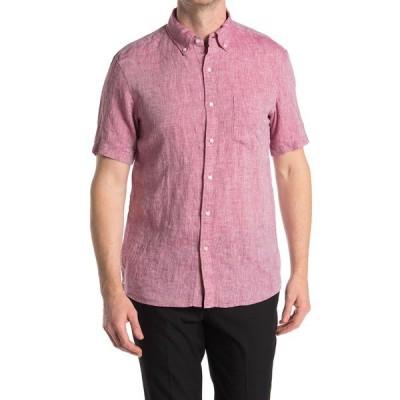 マイケルコース メンズ シャツ トップス Slim Fit Short Sleeve Linen Shirt RASPBERRY