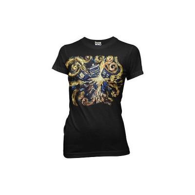 アメリカ人気キャラクター Tシャツ ドクターフー Doctor Who Van Gogh Exploding TARDIS Licensed Women's Junior T-Shirts - Black