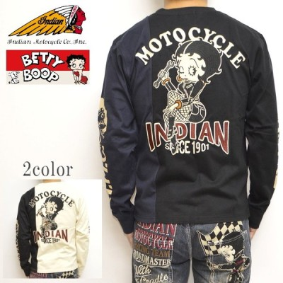 インディアンモトサイクル ベティブープ Indian Motocyacle BBI-940 天竺 2トーンカラー 長袖Tシャツ BETTY ロンT メンズ