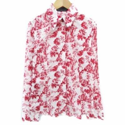 【中古】マウジー moussy シャツ ブラウス 長袖 透け感 花柄 総柄 2 白 赤 ホワイト レッド /FF38 レディース