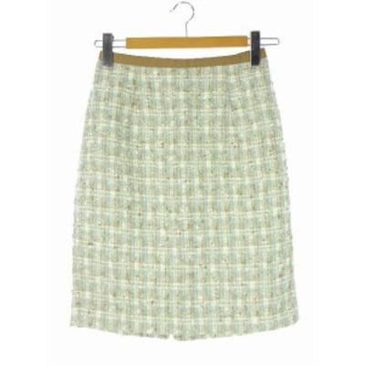 【中古】ジャスグリッティー JUSGLITTY 18AW ファンシーツィードタイトスカート チェック柄 2 ライトブルー系