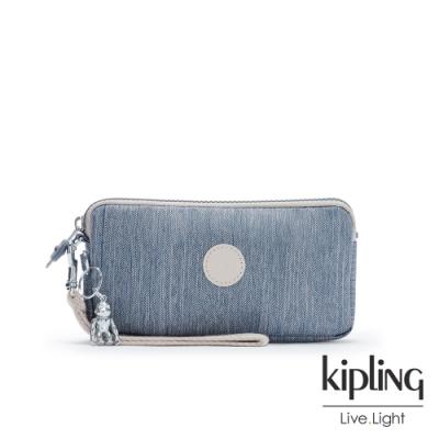 Kipling 淺色丹寧藍手拿包-LOWIE