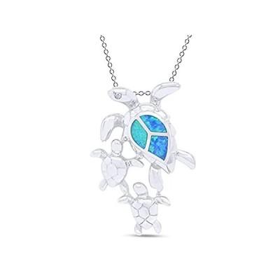 特別価格AFFY 925 Sterling Silver Synthetic Opal and Cubic Zirconia Sea Turtle Famil好評販売中