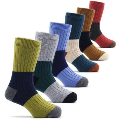 ボーイズ 靴下 子供 キッズ 厚い 暖かい 冬用 防寒 靴下 男の子 ウールソックス 6足セット 3〜5歳