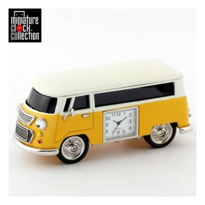 ミニチュアクロックコレクション Miniature Clock Collection ミニチュア置時計 車 バス イエロー 雑貨 ギフト プレゼント C3159-YL (ミニバス・ ワゴンカー)