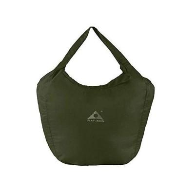 買い物袋 折りたたみ エコバッグ ビッグサイズ ファスナー付き (グリーン)