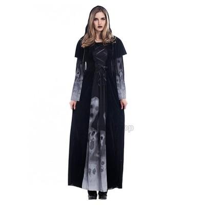 Halloween 悪魔 コスチューム 吸血鬼 レディース 仮装 ロングスカート ゴースト 長袖 コスプレ ドクロ柄 大人用 ハロウィン  舞台  パーティー用