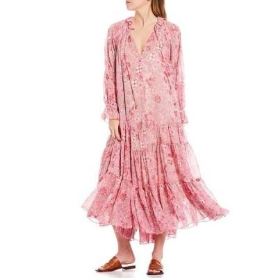 フリーピープル レディース ワンピース トップス Feeling Groovy Long Sleeve Tiered Ruffle Hem Summer Pink Floral Print Midi Dress