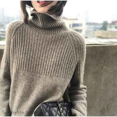 大きいサイズ レディース ファッション ニット トップス ぽっちゃり おおきいサイズ 対応 オーバーサイズ タートルネック あったかセーター M L
