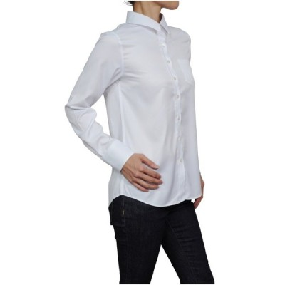 レディースシャツ ワイシャツ ブラウス 長袖  ワイドカラーシャツ クールマックス イージーケア 日本製 ルーズフィット トップス 大きいサイズ
