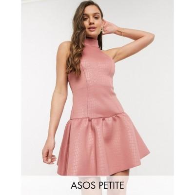 エイソス ミディドレス レディース ASOS DESIGN Petite high neck embossed mini skater dress in dark pink エイソス ASOS ピンク