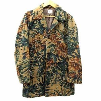 【中古】THE SHOP TK チェスターコート ロング ジャケット 花柄 ボタニカル コットン 2 M 茶 ブラウン A メンズ