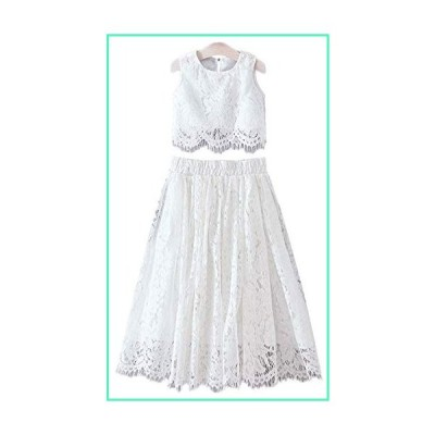 2Bunnies Girl Floral Lace Pearl Tutu Tulle Flower Girl 2 Piece Dress Sets (All Lace-Sleeveless-Maxi-White, 2T)並行輸入品