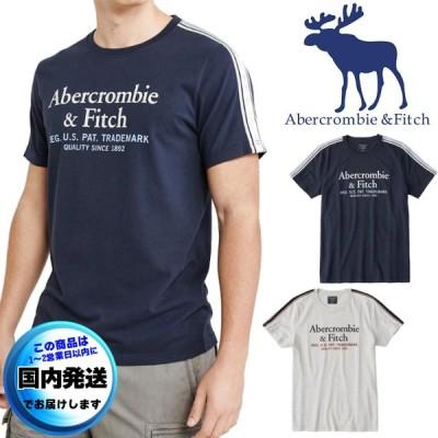 アバクロンビー&フィッチ  ロゴTシャツ  半袖  丸首  メンズ  プリント  バーシティー  コットン  XS〜XXL アバクロ