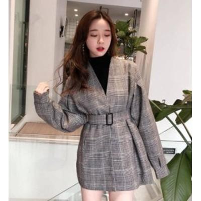 オルチャン 韓国 ファッション レディース ノーカラージャケット コート アウター 大きいサイズ チェック ベルト付き カジュアル 大人可