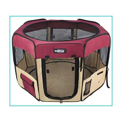 "EliteField 2-Door Soft Pet Playpen, Exercise Pen, Multiple Sizes and Colors Available for Dogs, Cats and Other Pets (36"" x 36"" x 24""H, Maroo"
