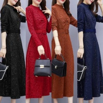 ドレス ワンピース ひざ下丈 お呼ばれ 黒 赤 ブラウン 青 大きいサイズ 2-3XL #3247