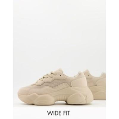 エイソス レディース スニーカー シューズ ASOS DESIGN Wide Fit Divine chunky sneakers in taupe Taupe