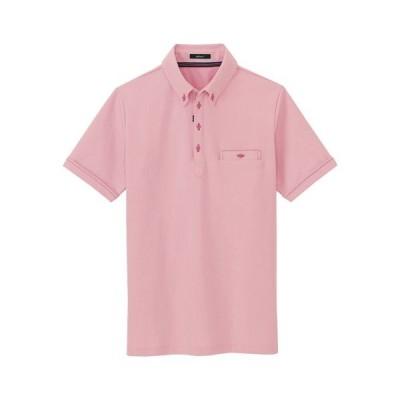 カンセン 部屋干しボタンダウン半袖ポロシャツ サイズ:LL(ピンク)