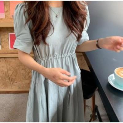 3色 ワンピース ロング プリーツ ギャザー ハイウエスト フレア 半袖 ゆったり 大人可愛い フェミニン 韓国 オルチャン ファッション