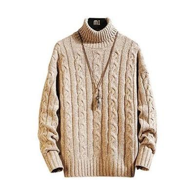 Hisitosa ニット セーター メンズ 冬服 長袖 厚手タートルネック 暖かい 防寒 ふっくら お洒落 シルエット リブ 編み セーター