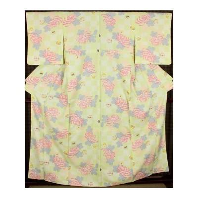 小紋 袷 高級化繊 菊花 M ki13359 お仕立て上がり品 お出かけはお着物で