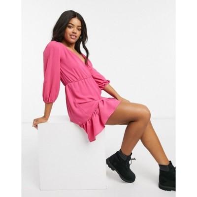 エイソス レディース ワンピース トップス ASOS DESIGN wrap front ruffle-hem mini tea dress with puff sleeves in pink Pink