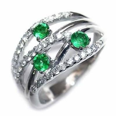 プラチナ エメラルド・ダイヤモンドリング